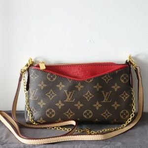 Louis Vuitton Pallas 8 x 5 x 1.5 red